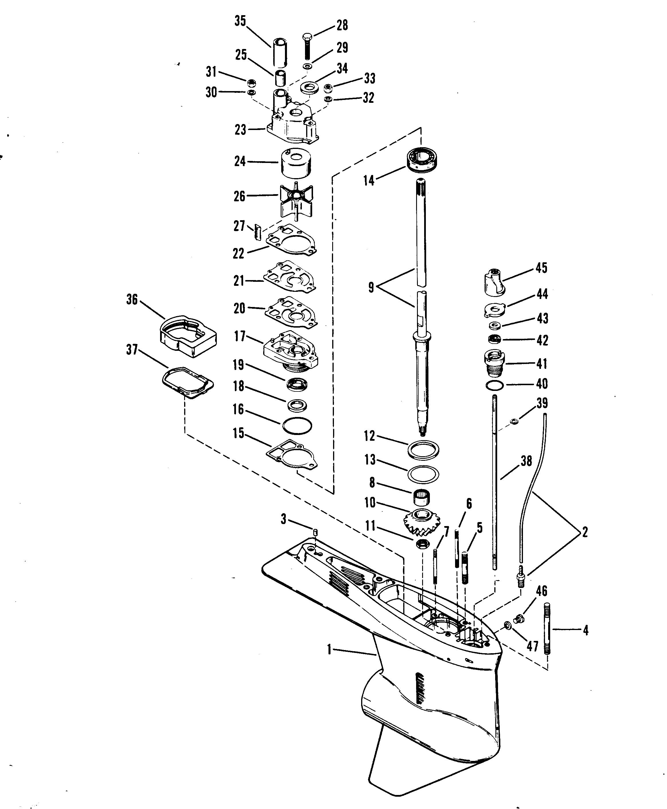 Diagram Of 1986 Mariner Outboard 7075716 Gear Housing Propeller