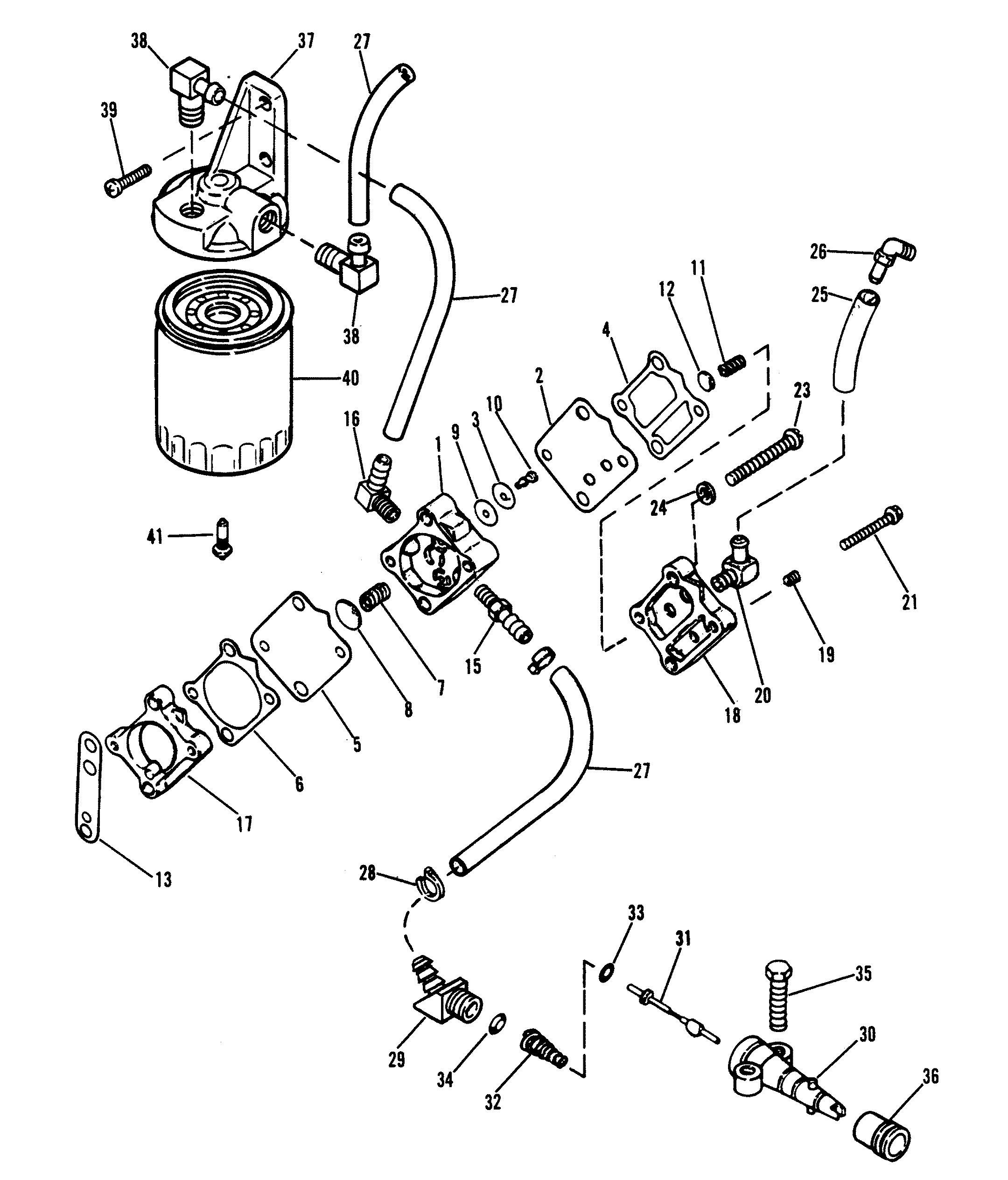 fuel pump and fuel filter for mariner    mercury 220 h p  v