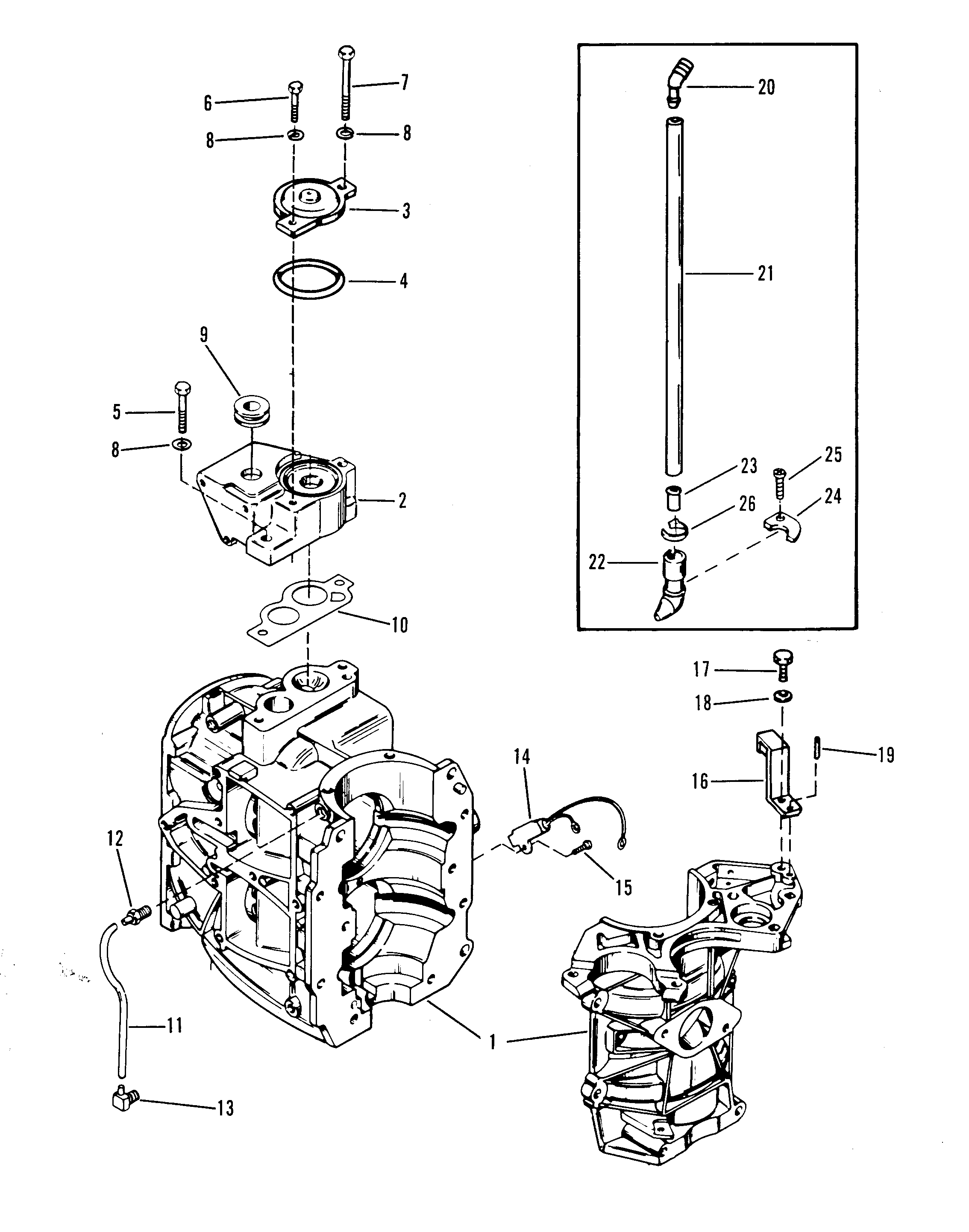 cylinder block and thermostat for mercury 35 h p