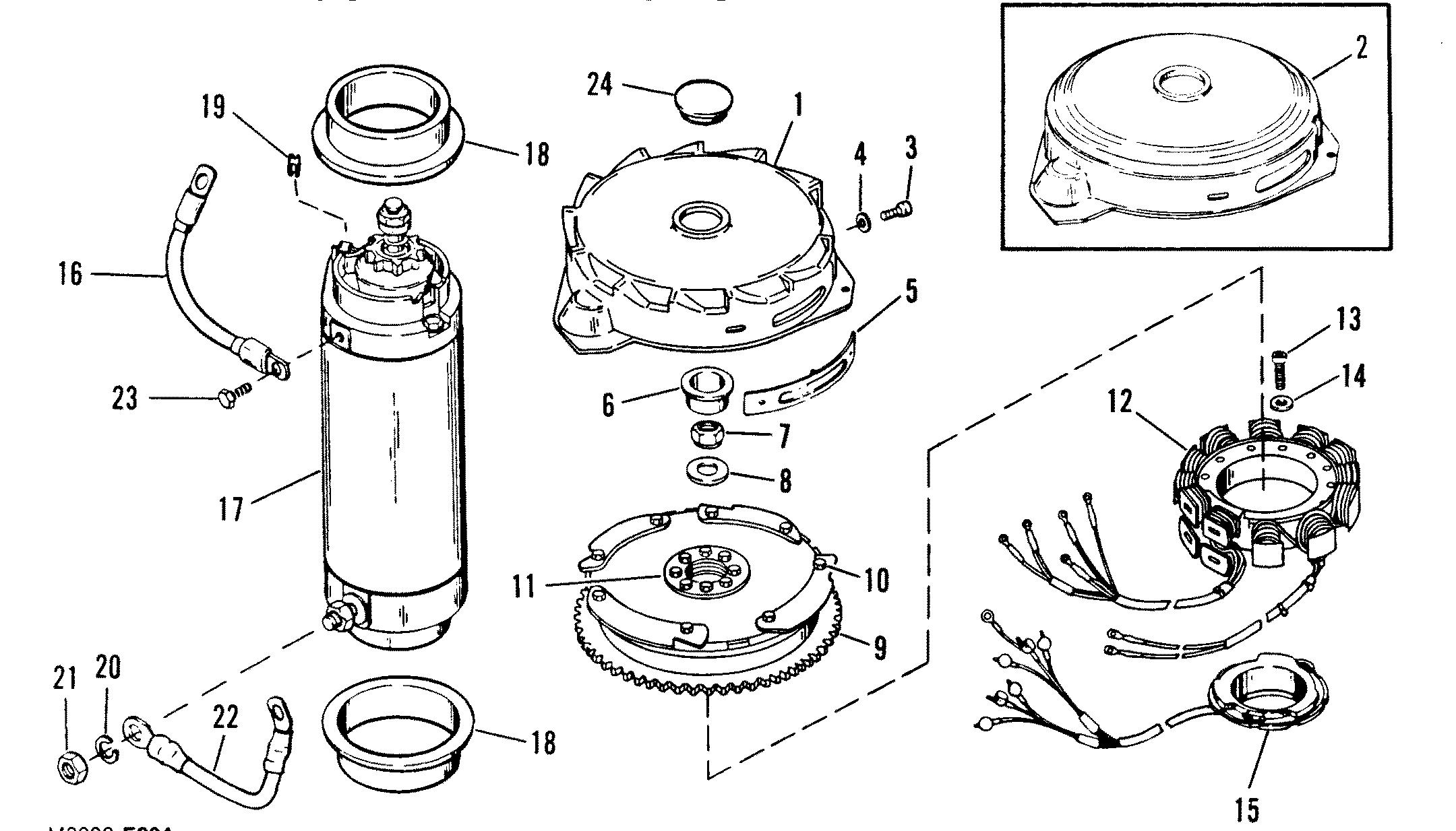 flywheel  starter motor for mariner    mercury 200 h p  v