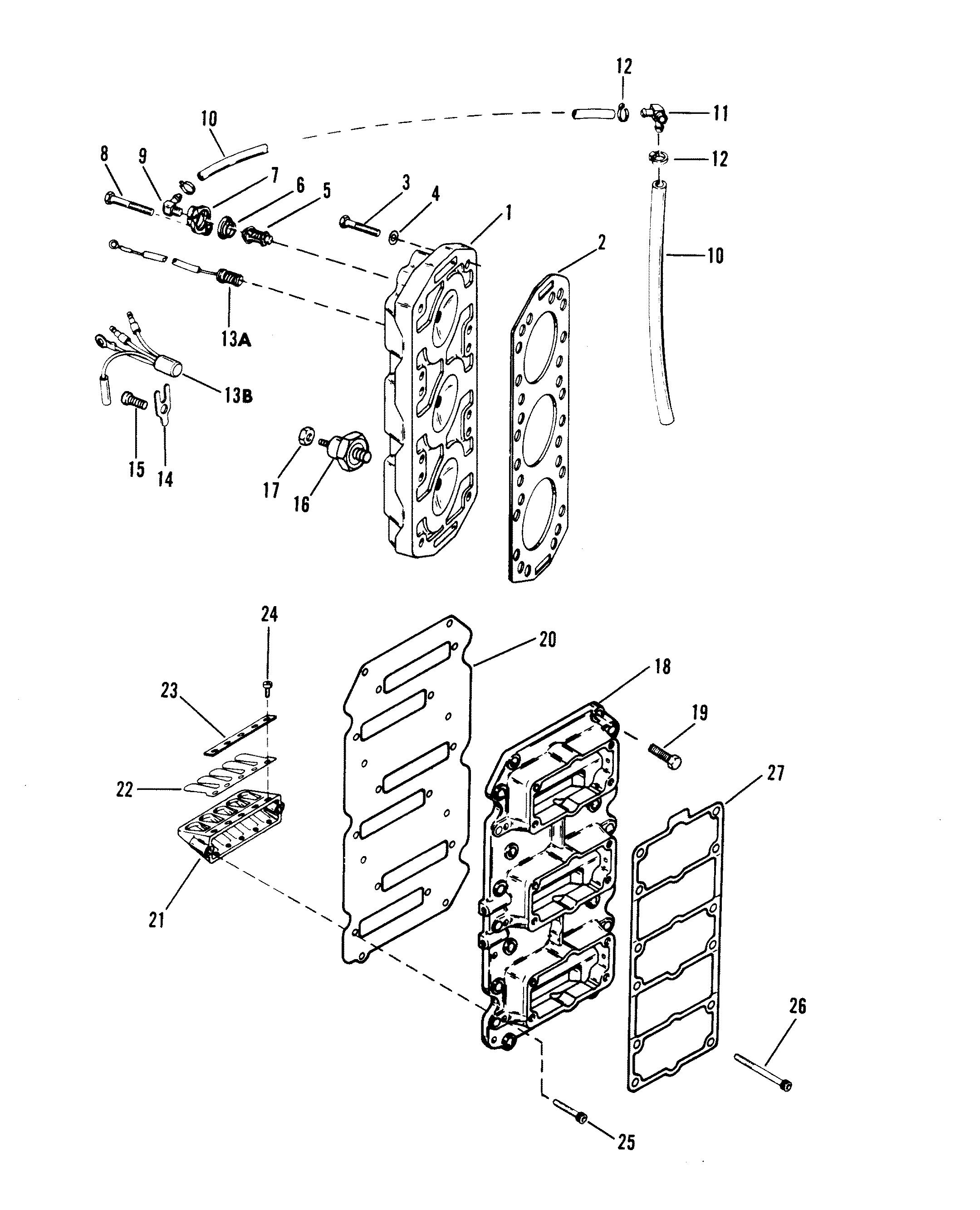 reed block and cylinder head for mercury 200 xri efi v
