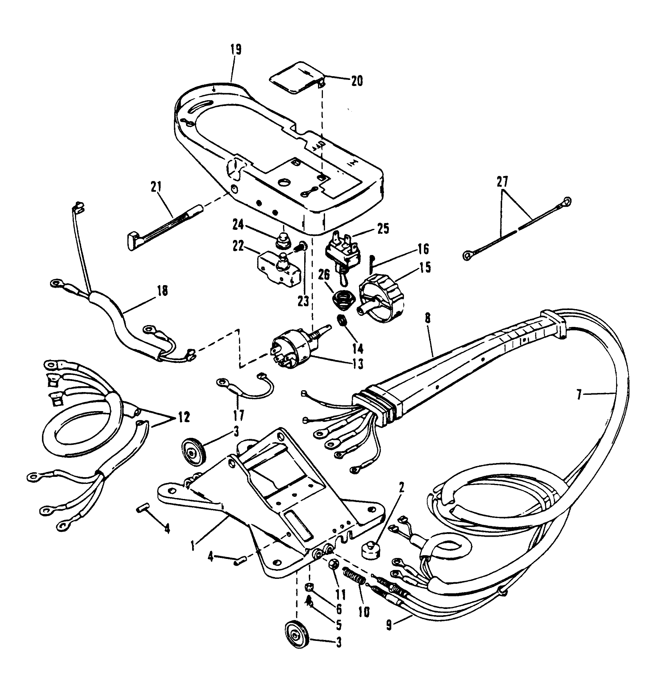 WIRING HARNESS AND FOOT PLATE RC FOR MARINER / MERCURY / MOTORGUIDE  THRUSTER/STALKERJamestown Distributors