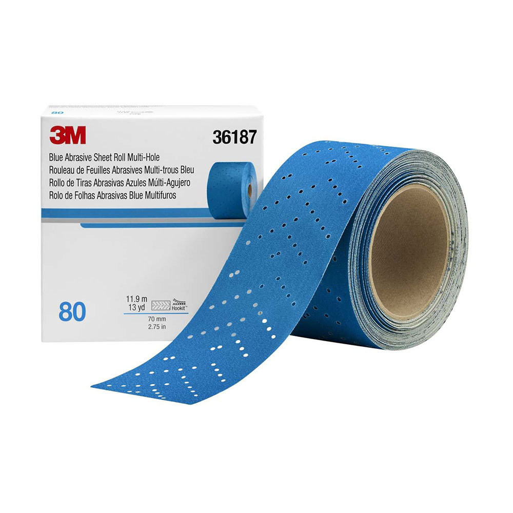 3M Hookit Blue Multi-Hole Abrasive Longboard Rolls 2-3/4 Inches Wide
