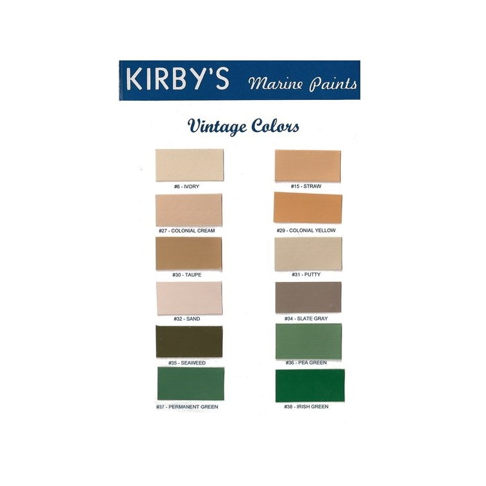 Kirby Topside Marine Paints Vintage Colors Color Chart
