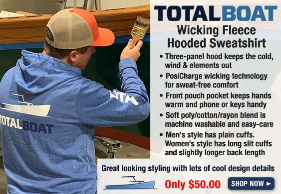 TotalBoat Hooded Logo Sleeve Wicking Fleece Sweatshirt