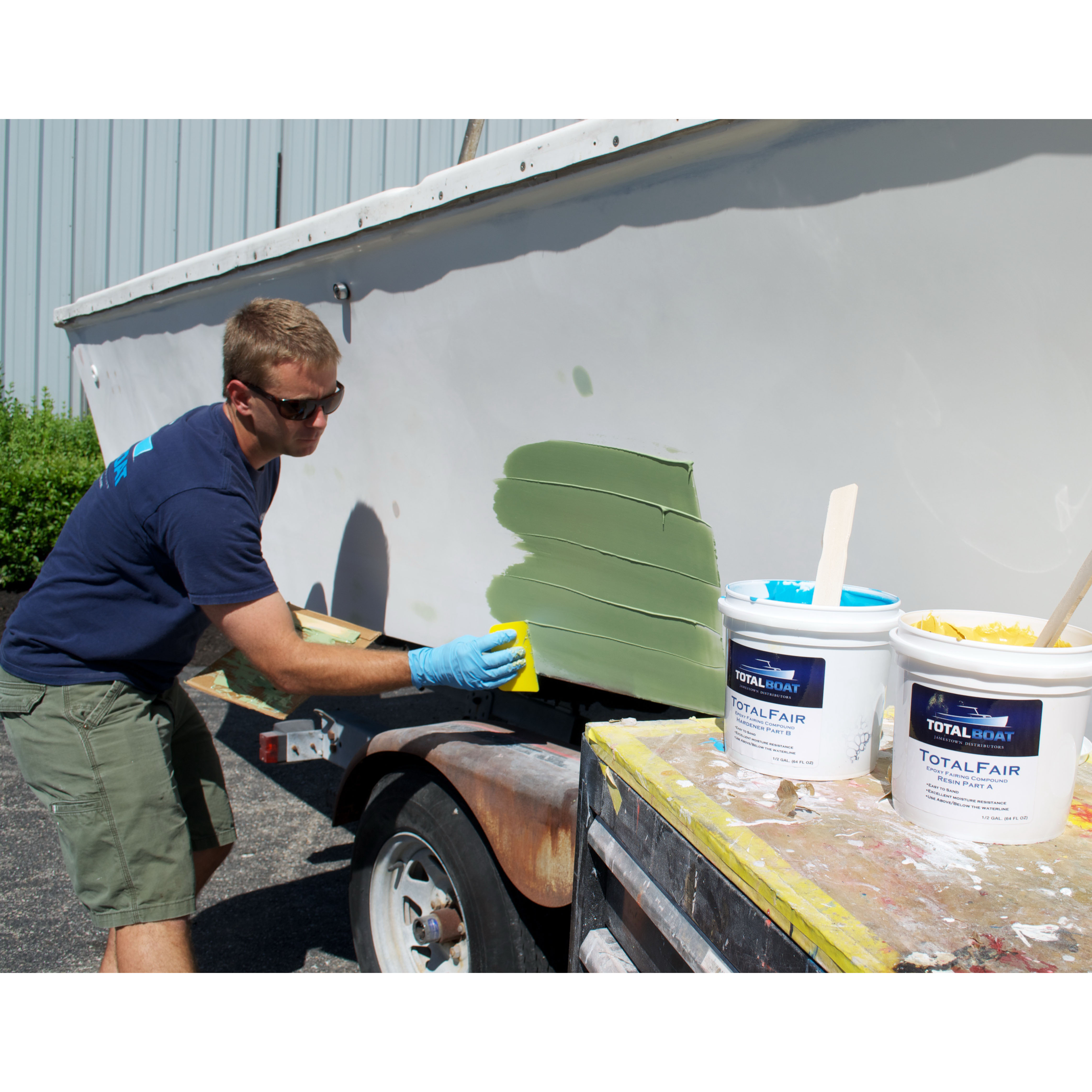 TotalBoat TotalFair Epoxy Fairing Compound In Use