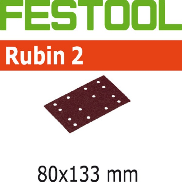 Festool StickFix Rubin 2 Abrasives For RS 400 EQ Orbital and Duplex LS 130 EQ Linear Sanders