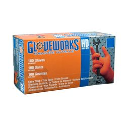 Ammex Heavy Duty Textured Orange Nitrile Gloves