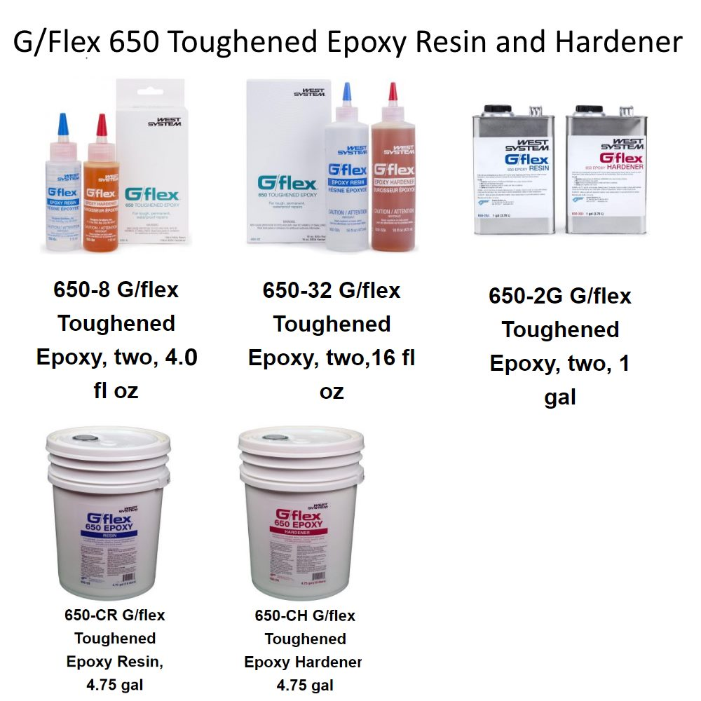 WEST System G/flex 650 Liquid Epoxy Resin and Hardener all sizes
