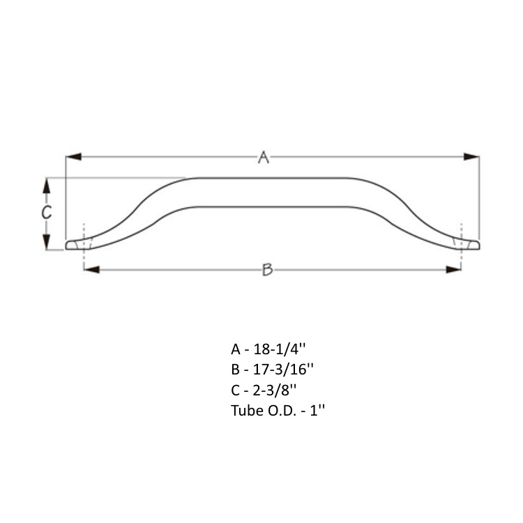 Sea-Dog Hand Rails Dimensions