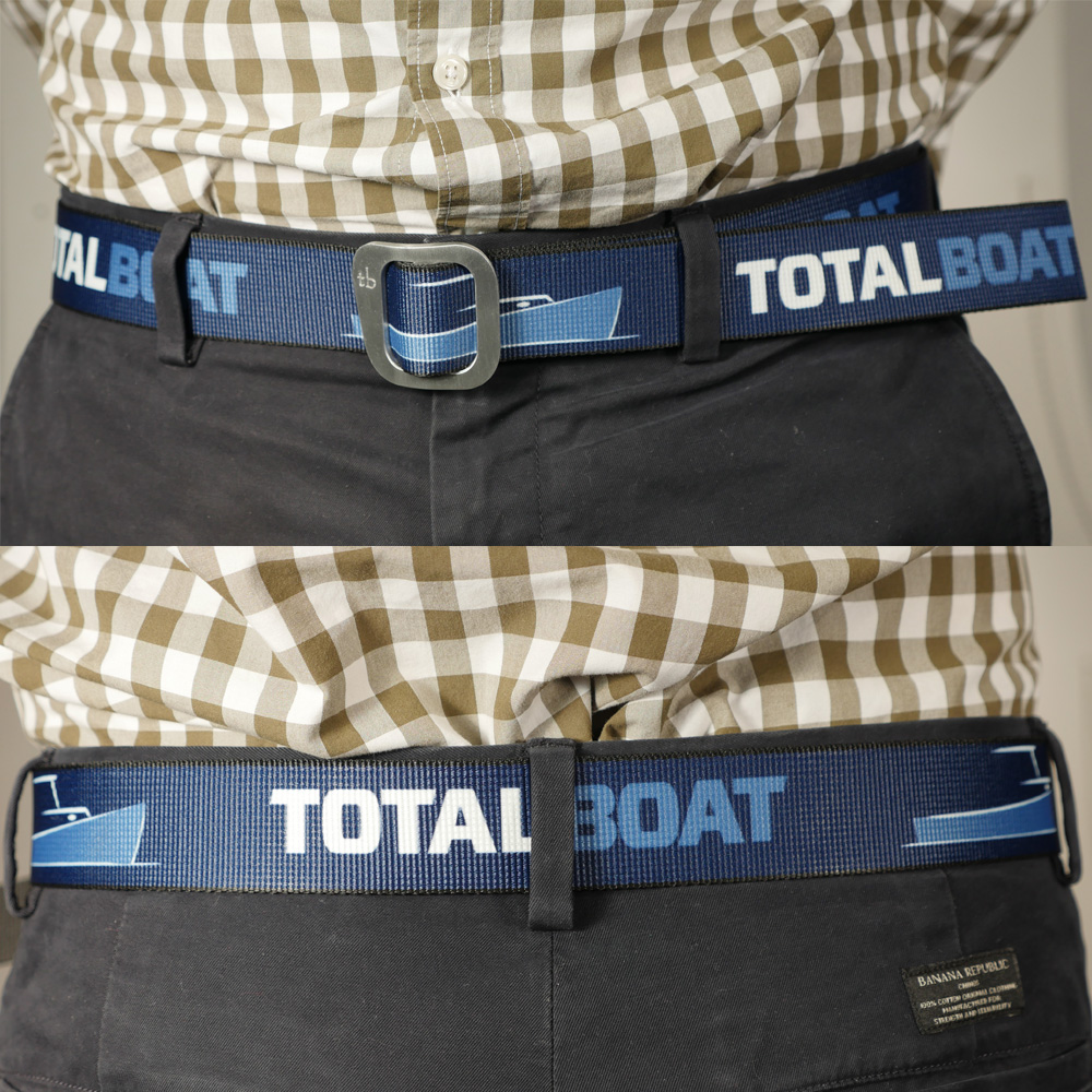 TotalBoat Web Belt with Aluminum Slide Buckle on model