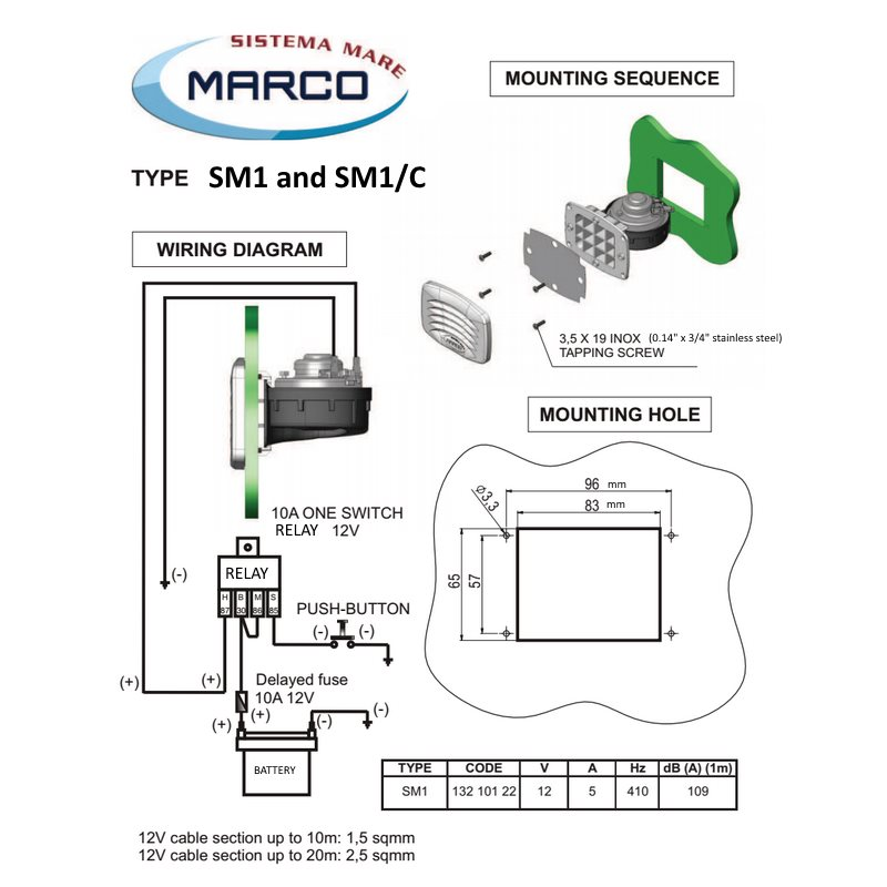 Marco SM1 Electromagnetic Drop-In Horns Wiring and Mounting Information