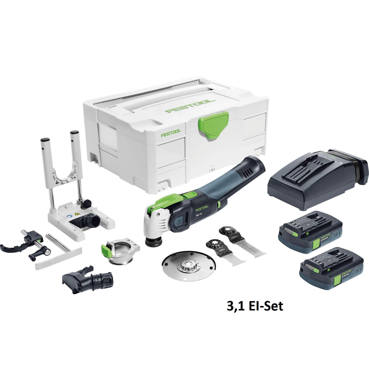 Festool 574855 Vecturo Cordless Multitool 3,1 EI-Set with depth stop and battery packs