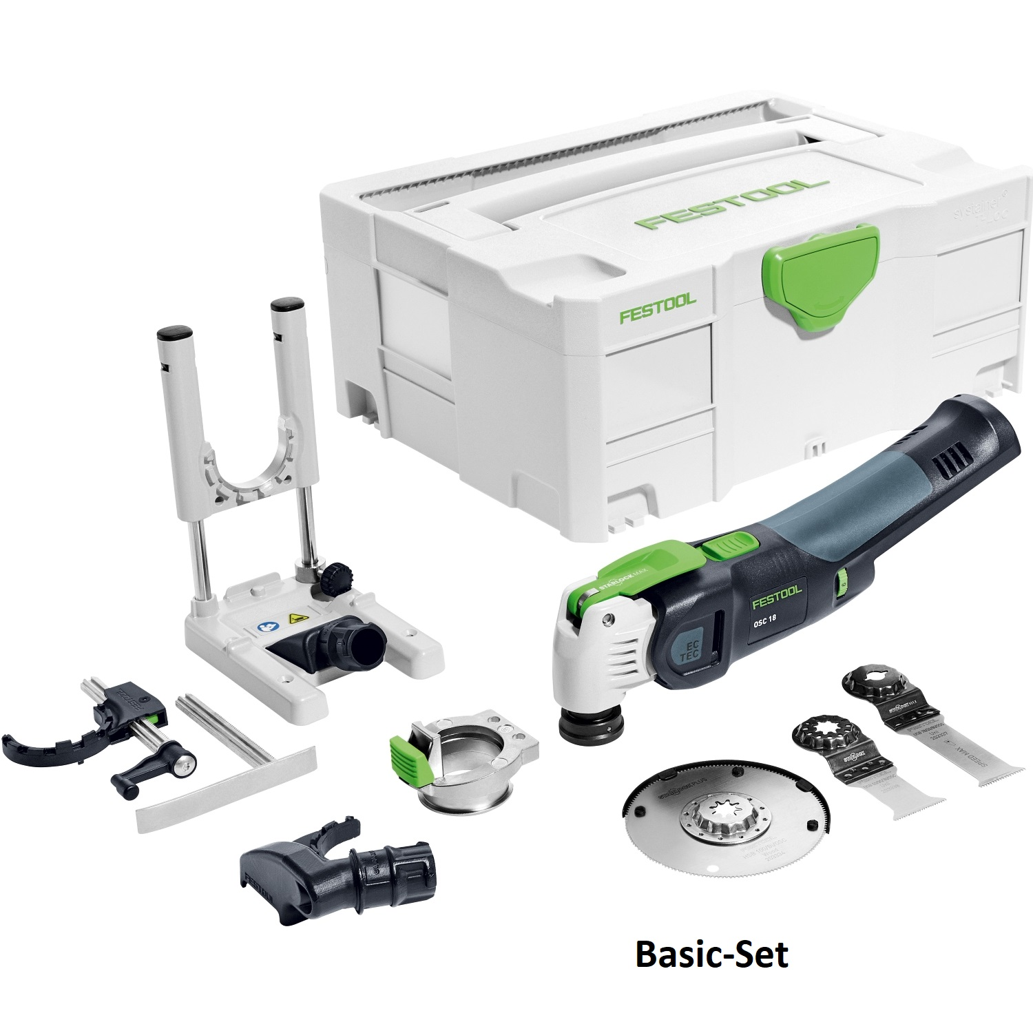 Festool 574850 Vecturo 18V Oscillating Multitool Basic Set with depth stock and additional blades