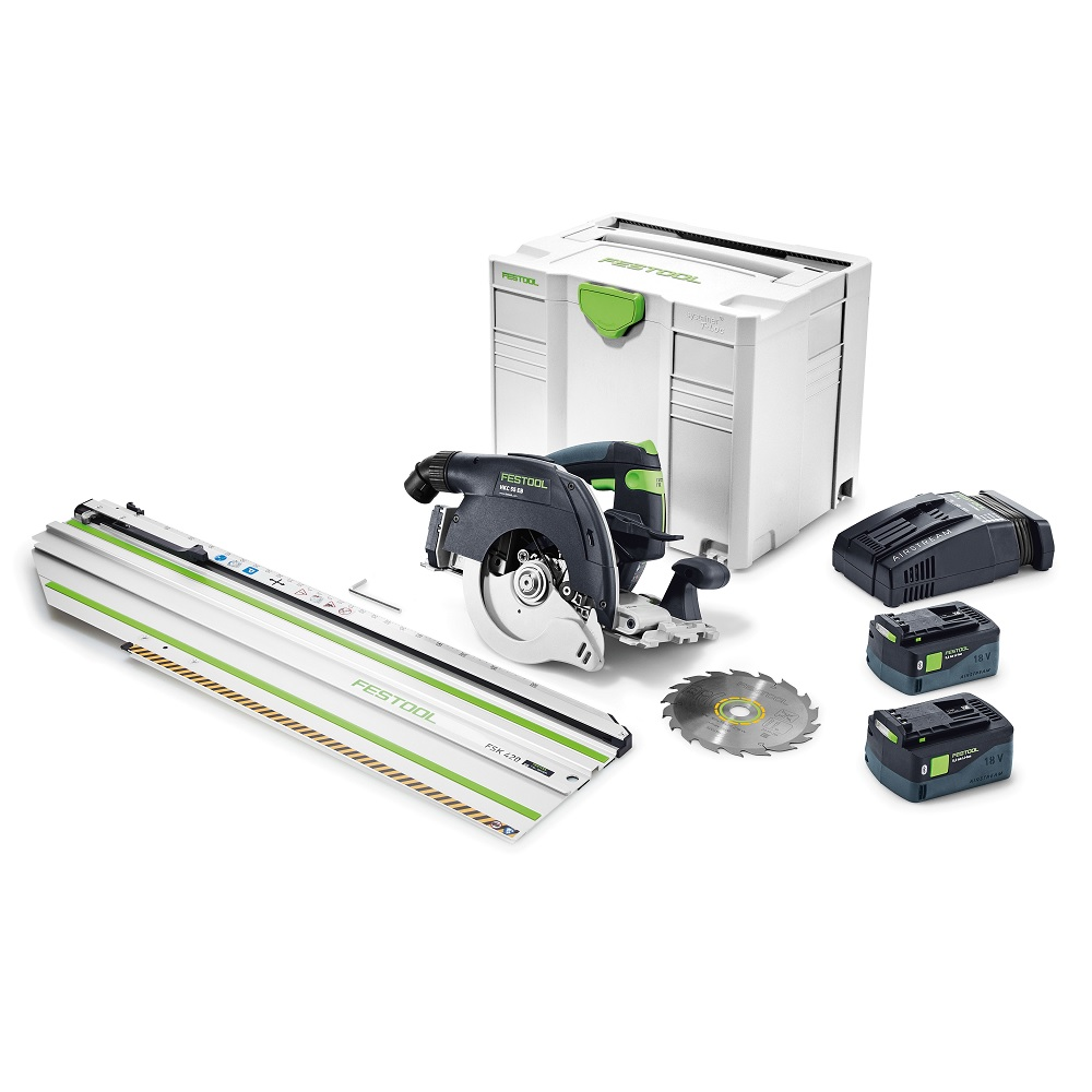 Festool 575737 Cordless HKC 55 Bluetooth Airsteam Track Saw With Rail Track FSK420 F-SET