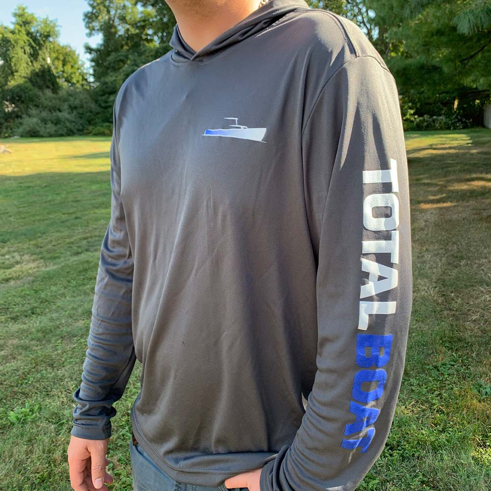 TotalBoat Hooded Long Sleeve Logo Pullover On Model