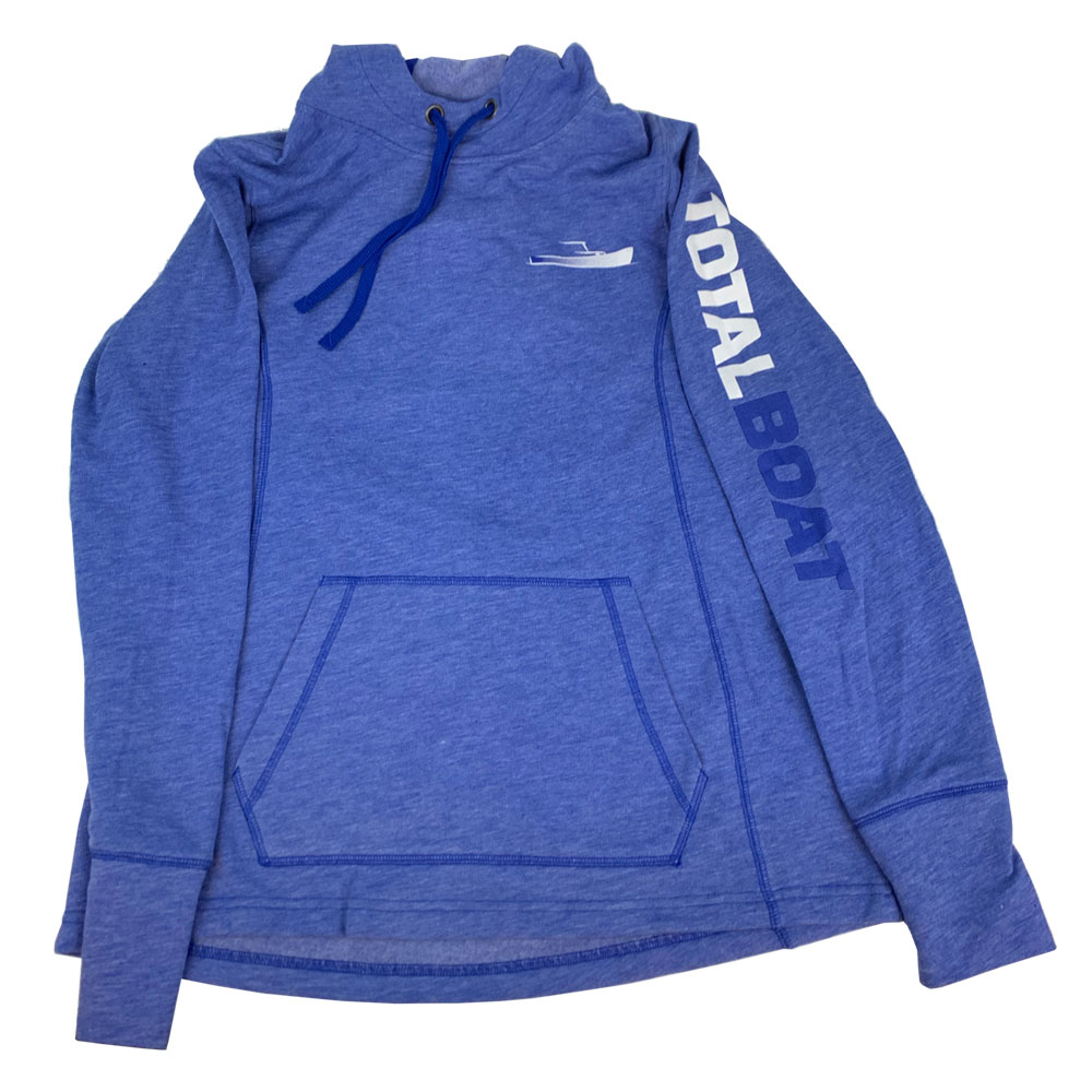 TotalBoat Hooded Logo Sleeve Wicking Fleece Sweatshirt