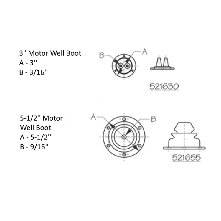Sea-Dog Motor Well Boots Dimensions