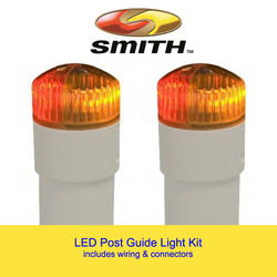 Single replacement incandescent pipe light for boat trailer guide.