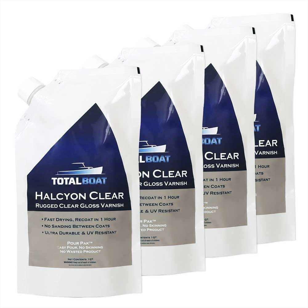 TotalBoat Halcyon Clear Marine Gloss Varnish 4 Quart Kit