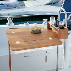 Whitecap Teak Cockpit Table 61392 With Folding Leaves And Four Drink Holders