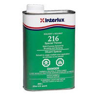 Interlux 216 Special Thinner, paint thinner, solvent. aluminum cleaning, sanding residue removal