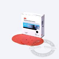 3M Red Abrasive Hookit Discs - 6 inch x 6 Holes