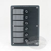 Blue Seas DC Waterproof Fuse Panel, vertical fuse panel, H20 12VDC 6 position gray