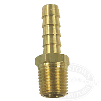 "Brass Pipe to Hose Adapter - 5/16"" Barb, 1/4"" NPT Male"