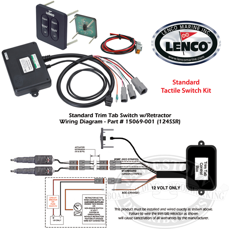 Lenco Waterproof Trim Tab Led Indicator Switch Kits