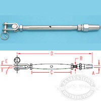 Suncor 316 SS Quick Attach Stud and Toggle Turnbuckle