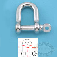 Suncor 316 SS Straight D Shackle with Captive Pin