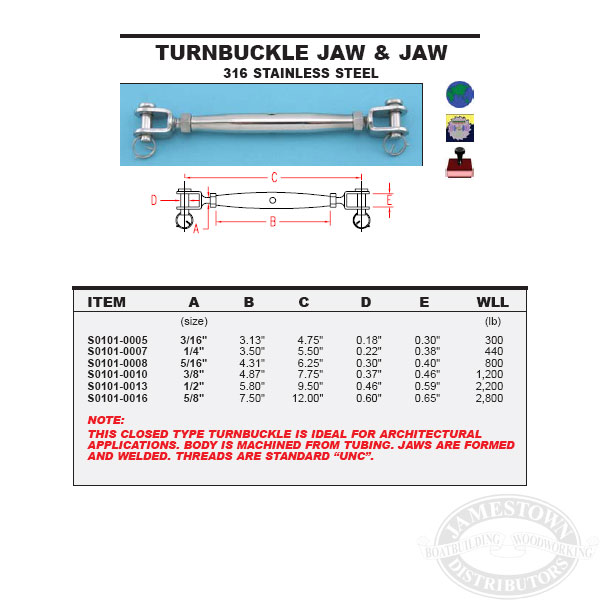 """S0101-0005 316 STAINLESS STEEL JAW /& JAW TURNBUCKLE 3//16/"""""""