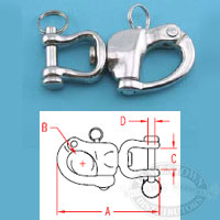 Suncor 316 SS Cast Jaw Swivel Snap Shackle