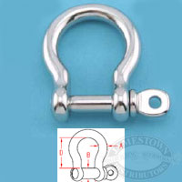Suncor 316 SS Bow Shackle with Screw Pin